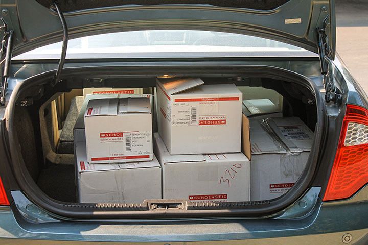 Car trunk full of boxes