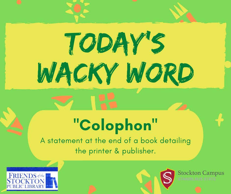 Wacky Word Wednesday - Colophon