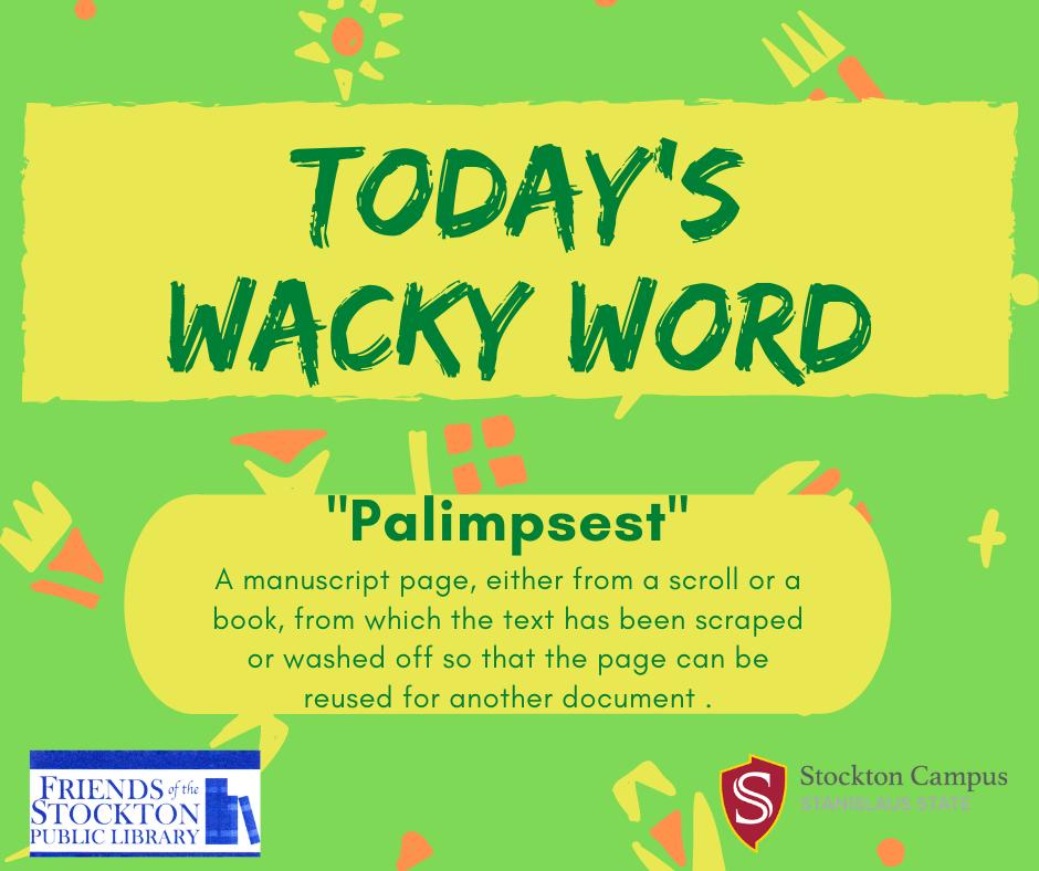 Wacky Word Wednesday - Palimpsest